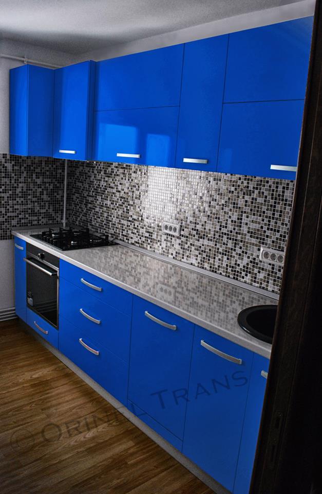 Mobilă Bucătărie Din Pal Melaminat Lucios Albastru Mobila Orinel